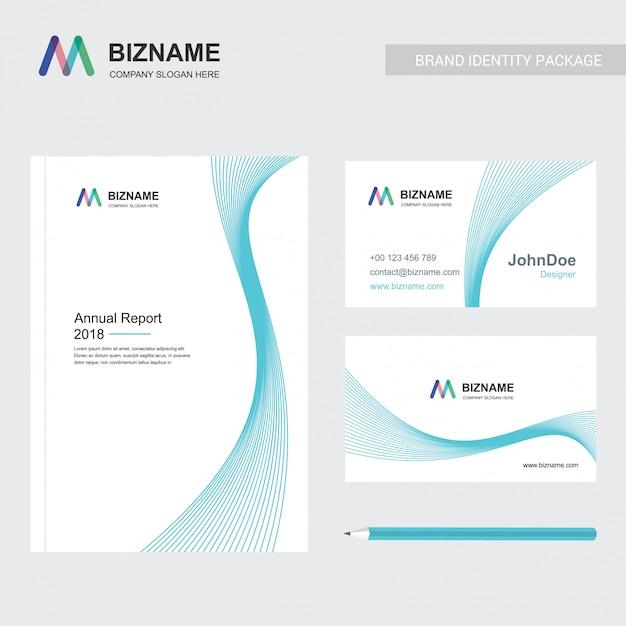 Firmenbroschüre mit elegent design und auch mit m logo Kostenlosen Vektoren