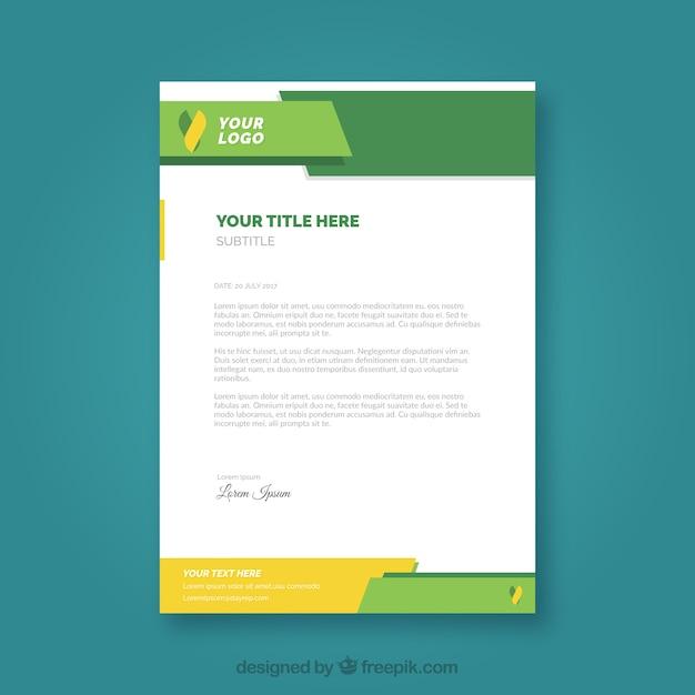 Firmenbroschüre mit gelben und grünen formen Kostenlosen Vektoren