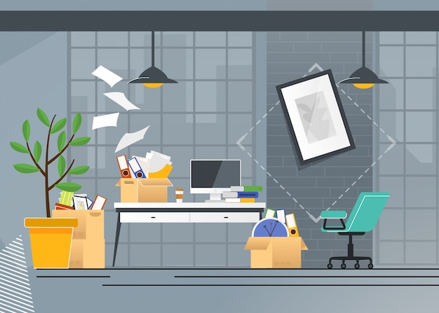 Firmenbüro umzug und transport cartoon Premium Vektoren