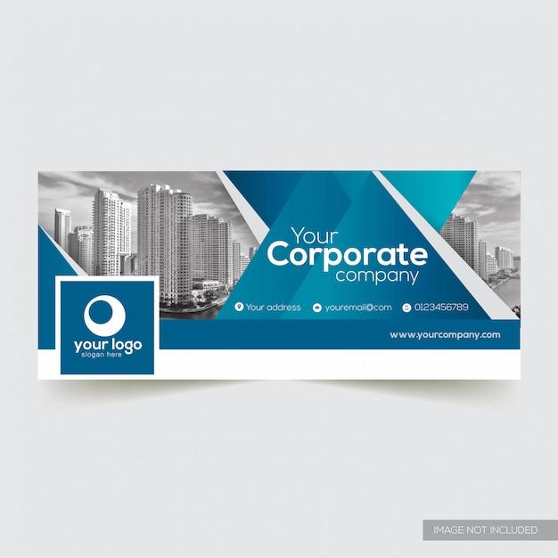 Firmenfacebook abdeckung mit blauem abstraktem element Premium Vektoren