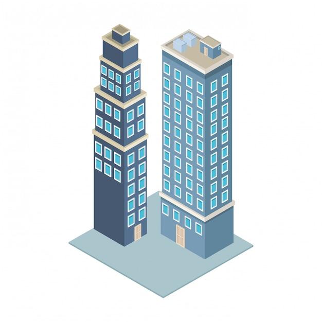 Firmengebäude isometrisch Premium Vektoren