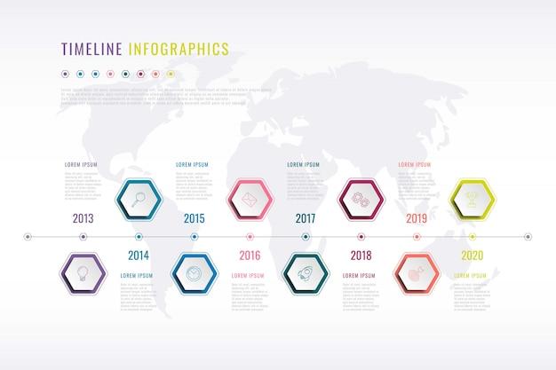 Firmengeschichte infografik mit sechseckigen elementen, jahresangabe und weltkarte Premium Vektoren