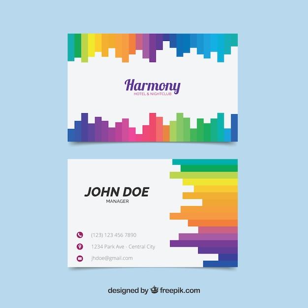 Firmenkarte mit farbigen formen Kostenlosen Vektoren