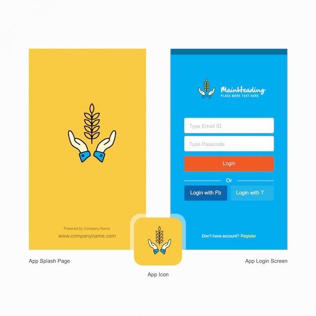 Firmenkulturen in händen startbildschirm und anmeldeseite mit logo-vorlage. mobile online-business-vorlage Premium Vektoren