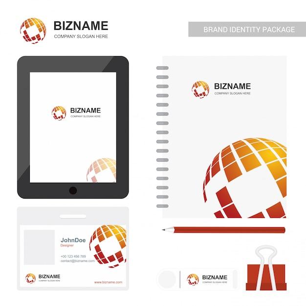 Firmenlogo-designtagebuch und stationärer einzelteilvektor Kostenlosen Vektoren