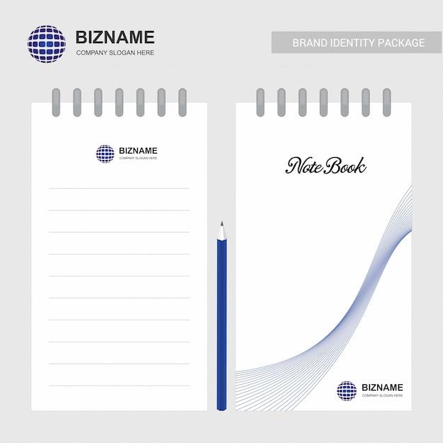 Firmenlogodesign-notizbuchvektor Premium Vektoren