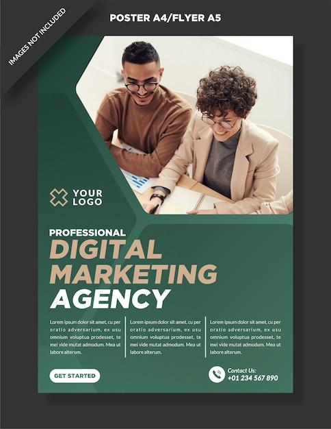 Firmenplakat a4 und flyer a5 digital marketing design Premium Vektoren