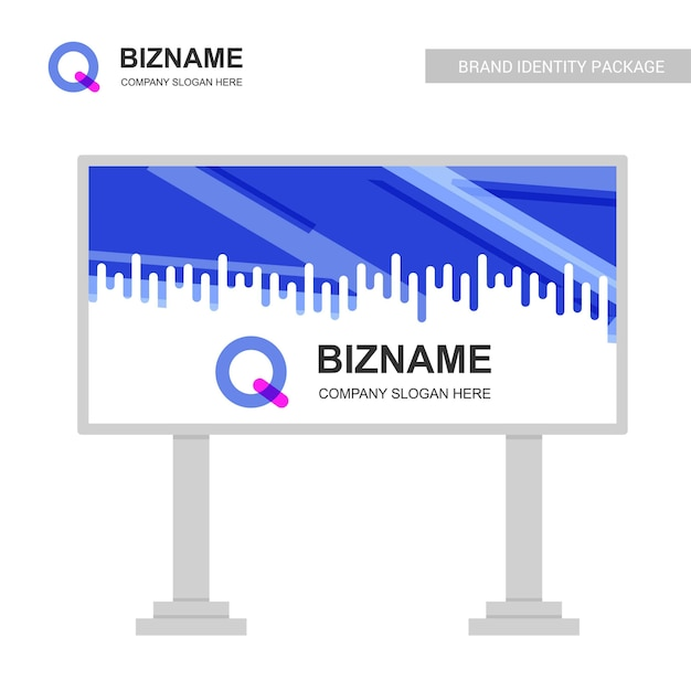 Firmenplakatentwurf mit q-logovektor Kostenlosen Vektoren