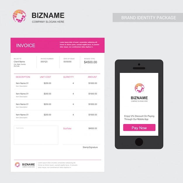 Firmenrechnung mit einem einzigartigen elegent design-vektor Kostenlosen Vektoren
