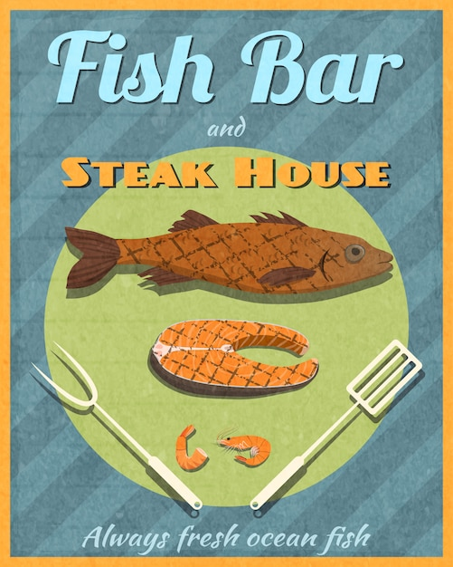Fisch-bar retro-poster Premium Vektoren