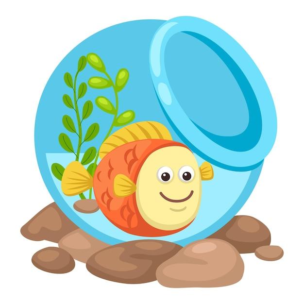 Fisch in einer schüssel. illustration Premium Vektoren