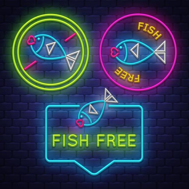 Fisch kostenlose abzeichen sammlung Premium Vektoren