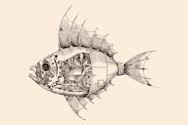 Fisch mit einem metallkörper auf mechanischer steuerung im steampunk-stil. Premium Vektoren