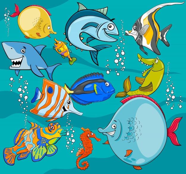 Fisch zeichentrickfiguren gruppe Premium Vektoren