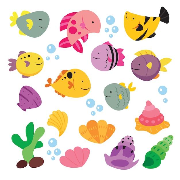 Fische illustration sammlung Kostenlosen Vektoren