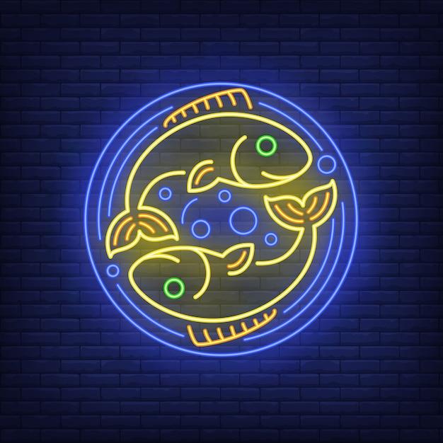 Fische leuchtreklame Kostenlosen Vektoren