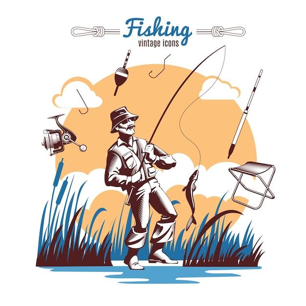 Fischen vintage icons zusammensetzung Kostenlosen Vektoren
