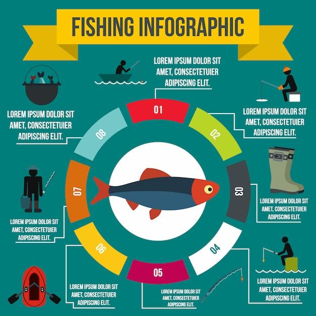 Fischen von infographic elementen in der flachen art für irgendein design Premium Vektoren