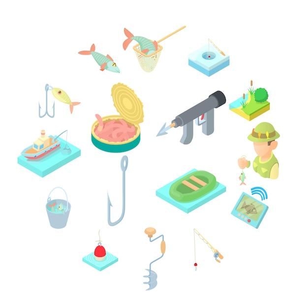 Fischenikonen eingestellt, karikaturart Premium Vektoren