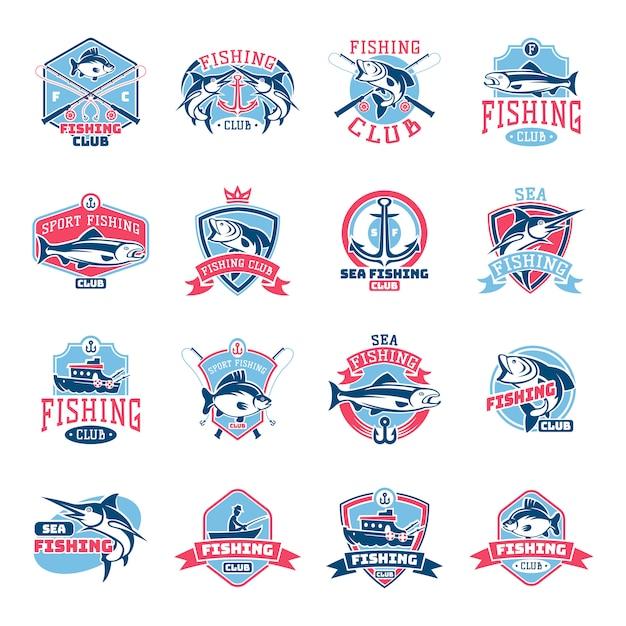 Fischenlogo-fischereifirmenzeichen mit fischer im boot und emblem mit gefischtem fisch für fishingclub satz Premium Vektoren