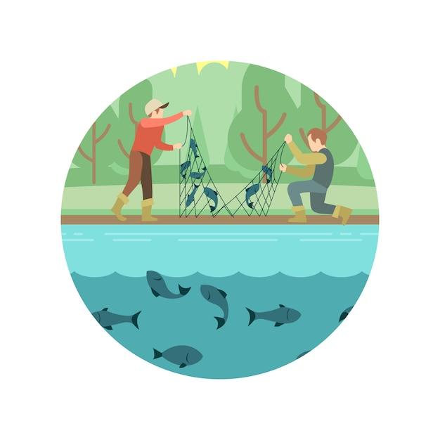 Fischenmänner mit fisch- und ausrüstungsemblem Premium Vektoren