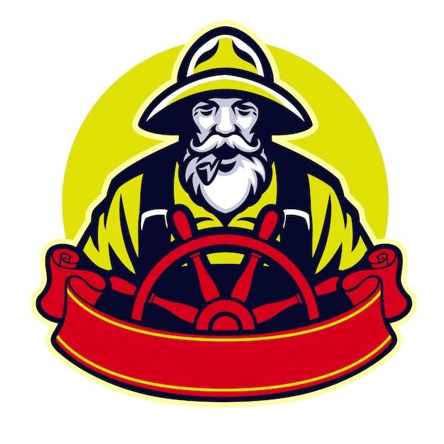 Fischer des alten mannes, der das boot steuert Premium Vektoren