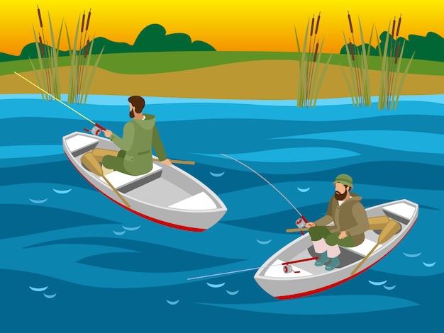 Fischer in booten mit spinnruten beim fischfang auf dem fluss isometrisch Kostenlosen Vektoren
