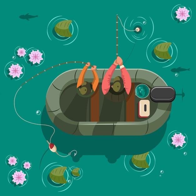 Fischer in einem boot am see. draufsicht der vektorkarikatur-illustration. Premium Vektoren