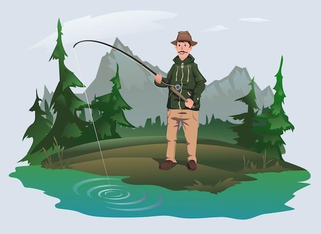 Fischer mit einer angelrute am ufer eines waldsees Premium Vektoren