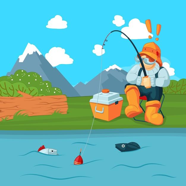 Fischer mit fischerstraße einen fisch auf berglandschaft fangen Premium Vektoren