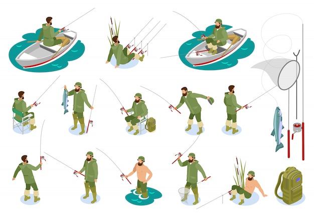 Fischer während des fischfangs auf spinnruten-satz von isometrischen symbolen mit isoliertem gerät Kostenlosen Vektoren