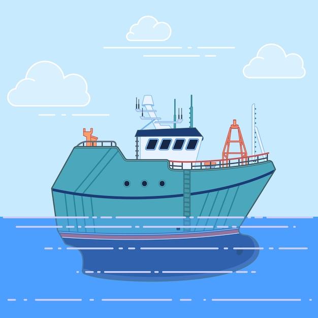 Fischereifahrzeug im meer Premium Vektoren