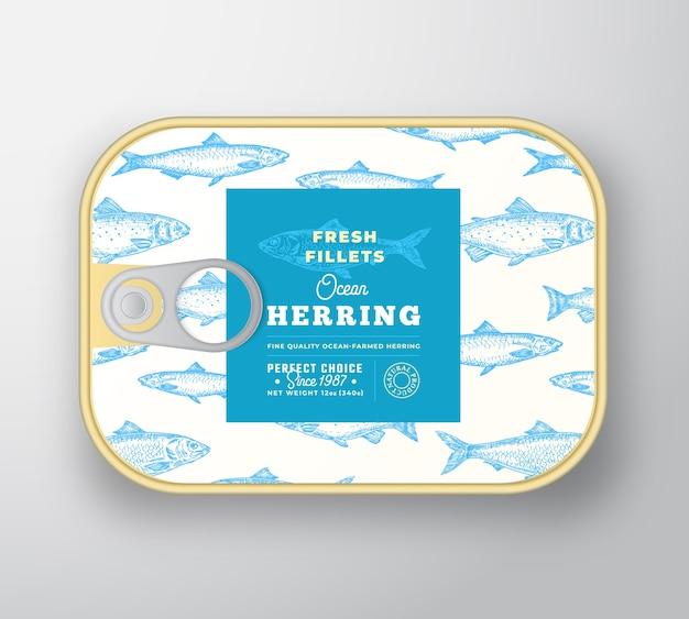 Fischetikettenvorlage in dosen. Kostenlosen Vektoren