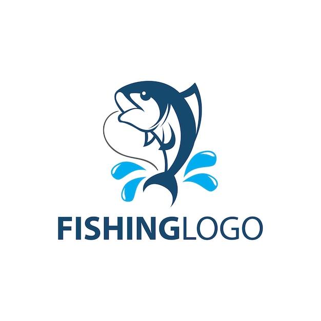 Fischfang logo vorlage Premium Vektoren