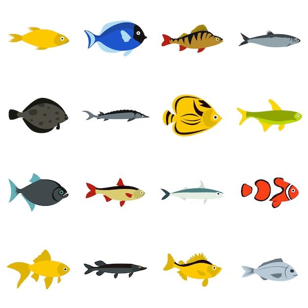 Fischikonen eingestellt Premium Vektoren