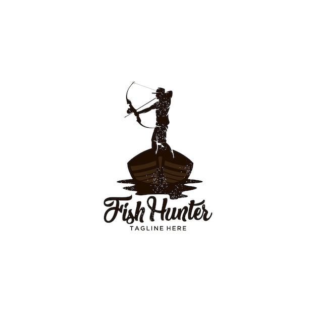 Fischjäger mit hölzernem boot des bogens Premium Vektoren