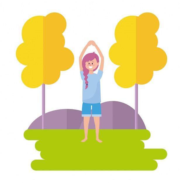Fit frau praktizieren yoga Premium Vektoren
