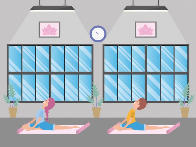 Fit paar praktizierender yoga Premium Vektoren