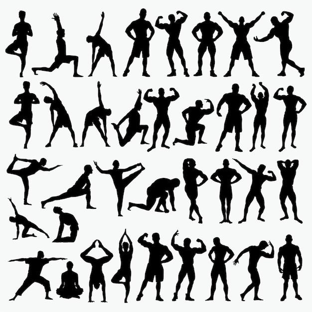 Fitness 2 silhouetten Premium Vektoren