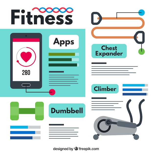 Fitness apps pack Premium Vektoren