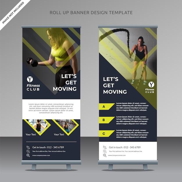Fitness-center professionelle roll-up-banner-vorlage Premium Vektoren