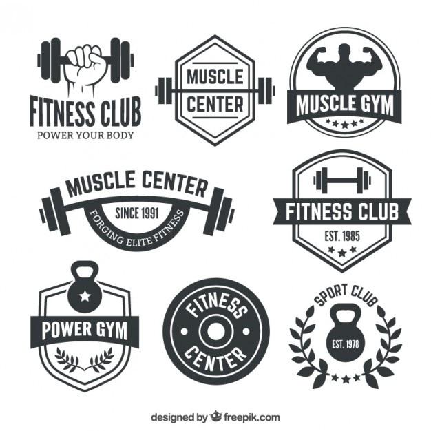 Fitness club abzeichen Premium Vektoren