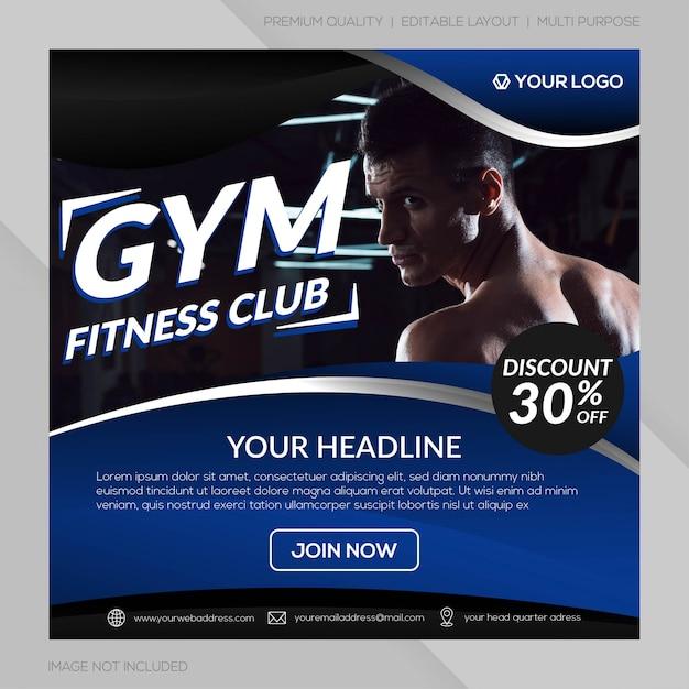 Fitness club instagram beitragsvorlage Premium Vektoren