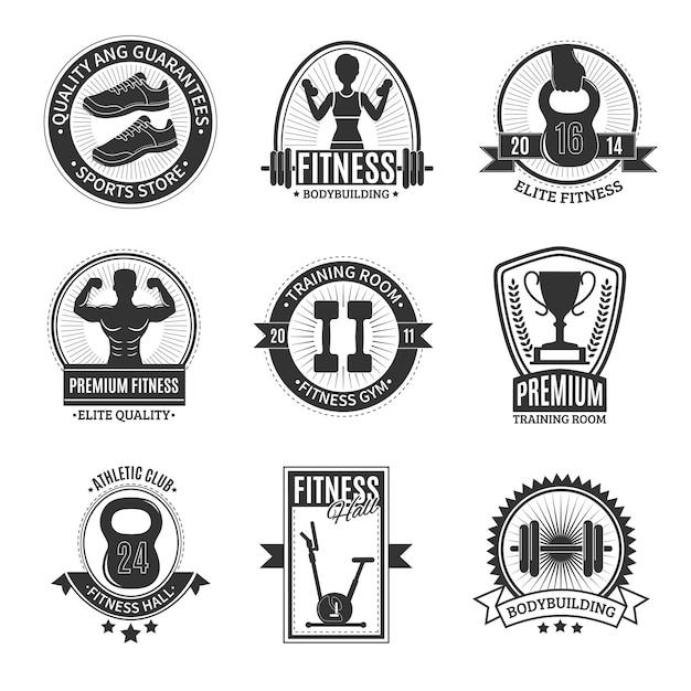 Fitness club schwarz-weiß-abzeichen Kostenlosen Vektoren