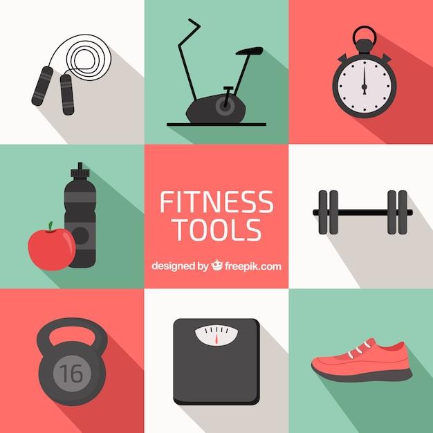 Fitness-elemente sammlung Premium Vektoren