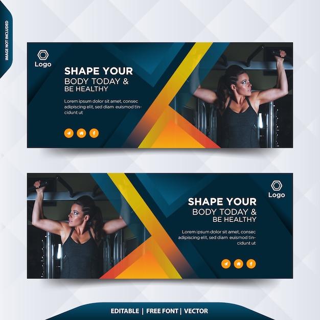 Fitness facebook cover oder header Premium Vektoren