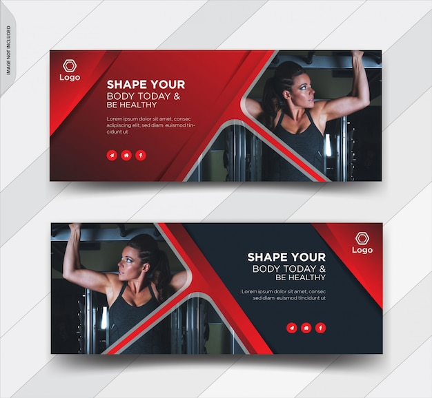 Fitness facebook cover social media post banner Premium Vektoren