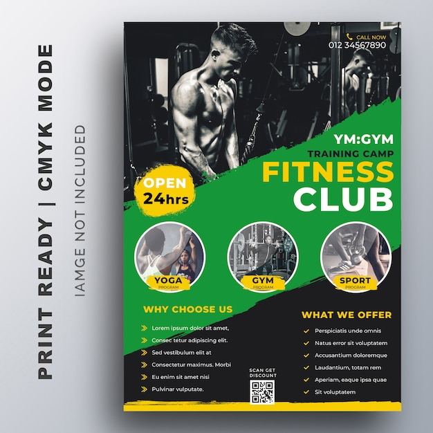 Fitness, fitness-studio-training flyer design-vorlage Premium Vektoren