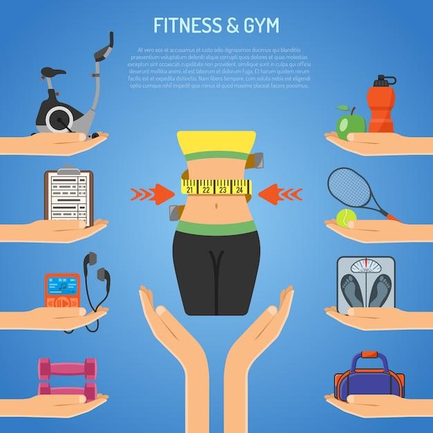 Fitness & gym konzept Premium Vektoren