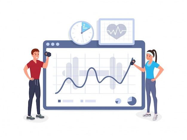 Fitness-kardiogramm Premium Vektoren